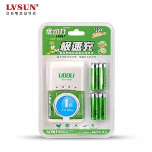 龙威盛极速充电器U4A425 充电器1个+4颗2500mAh电池 一小时充满