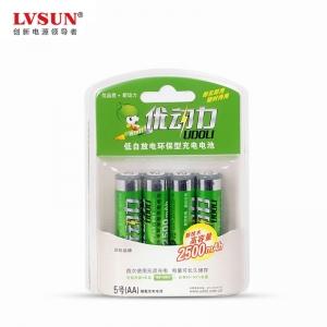 4颗2500毫安5号电池低自放电镍氢充电电池BU4A25进口电芯